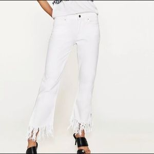 NWT ZARA white fringe flare ankle jeans